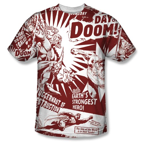Superman Day Of Doom Mens Short Sleeve 100% Poly Sublimation Crew Shirt