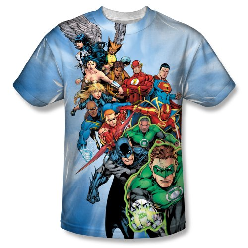 Justice League All-Over Front Print Sports Fabric T-Shirt