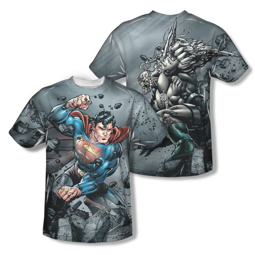 Superman Superman Vs Doomsday Mens Short Sleeve 100% Poly Sublimation Crew Shirt