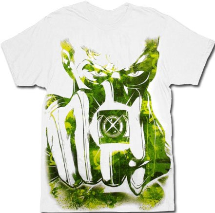 Green Lantern Large Watercolor Fist Movie White Adult T-shirt