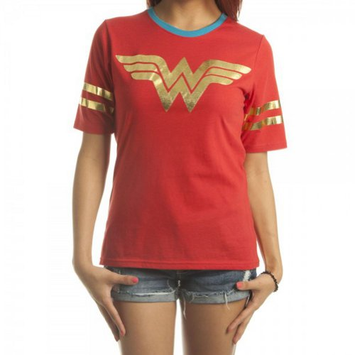 DC Comics Wonder Woman All Foil Juniors Red Athletic T-Shirt