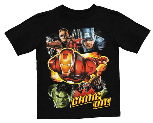 Marvel Avengers Game On Black Kids T-Shirt