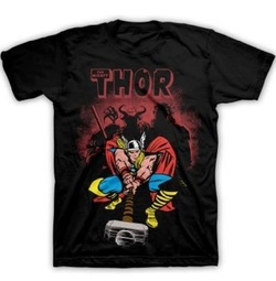 Marvel The Mighty Thor Classic Strike Men's Black T-shirt