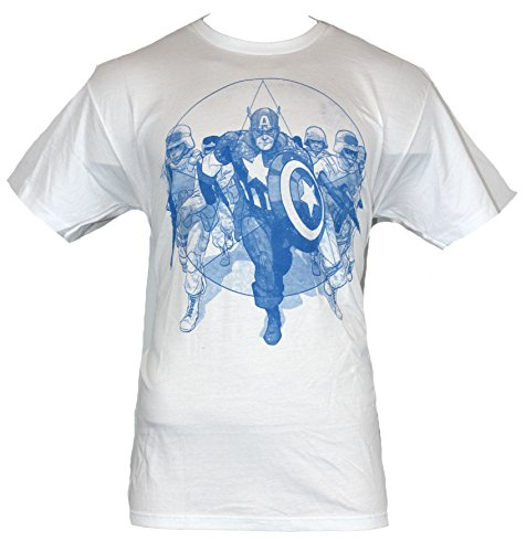 Captain America (Marvel Comics) Mens T-Shirt - Blue Art Cap Flanked By Soldiers