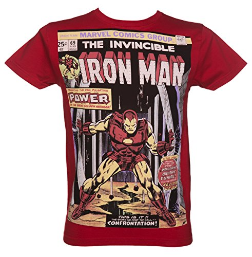 Mens Red Iron Man Comic Cover Marvel T Shirt from For Love Money