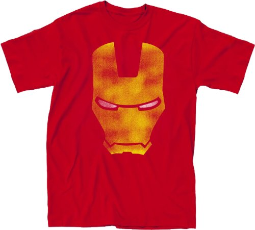 Simple Iron Man Distressed Face Adult Red T-shirt