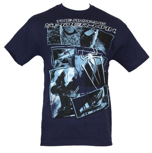 Spider-man Marvel Comics Mens T-Shirt - Amazing Light Blue Movie Pic Collage