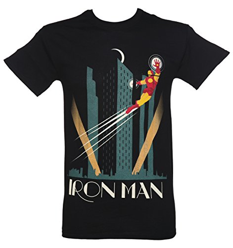 Mens Black Marvel Iron Man Art Deco T Shirt