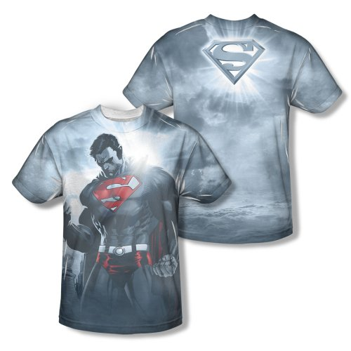 Superman Light Of The Sun Mens Short Sleeve 100% Poly Sublimation Crew Shirt