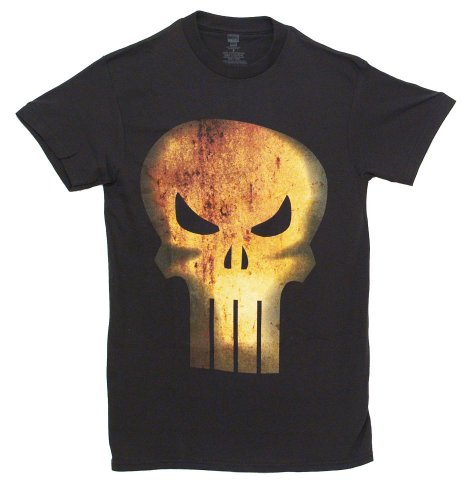 The Punisher Rusty Head Distressed Adult Black T-Shirt