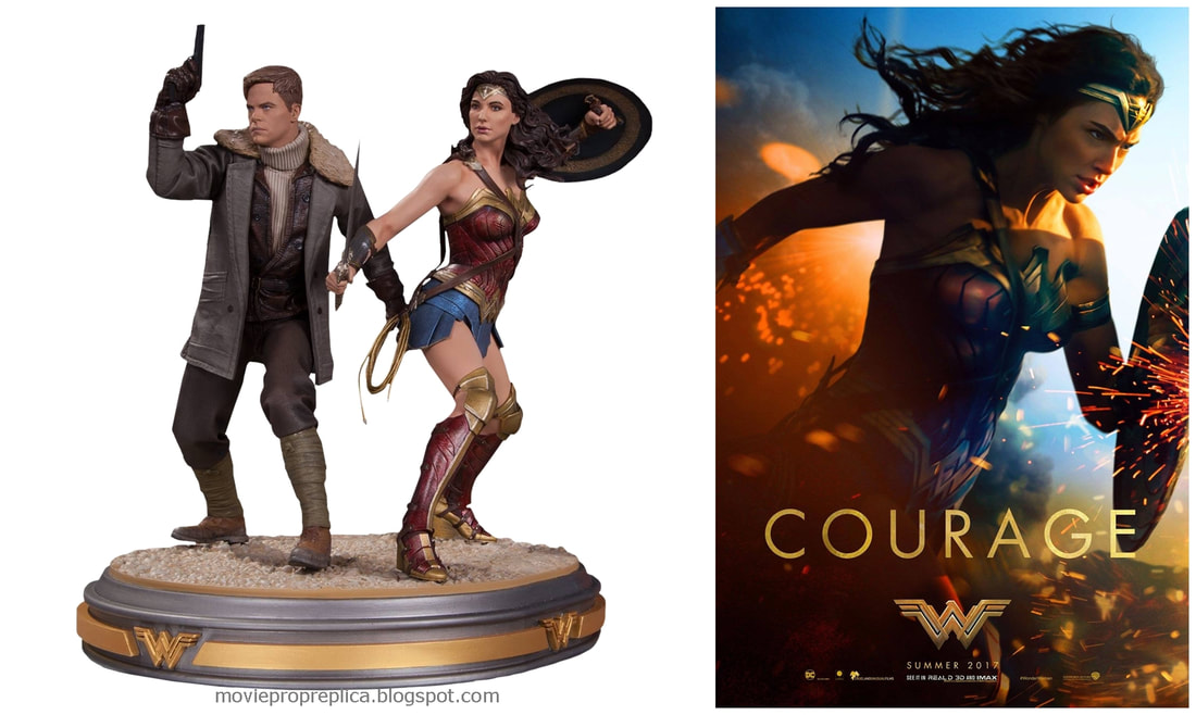 Gal Gadot as Diana Prince and Chris Pine as Steve Trevor: Wonder Woman Movie Collectible Figure Statue